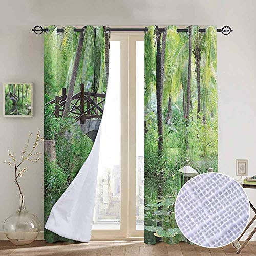 Modern Farmhouse Country Curtains Zen Garden,Green Landscape in South China Palm Trees and Bushes Lush Growth Nature, Green Grey Brown,Design Drapes 2 Panels Bedroom Kitchen Curtains 84