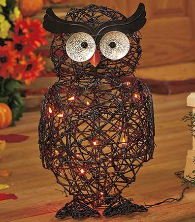 Charmant Lighted Plastic Grapevine Owl Halloween Decor Orange Lights Spooky Creepy  Porch Patio Accent Decoration