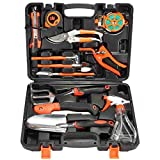 Garden Tools Set, Pathonor 12 Pieces Gardening Tools Durable Garden Tool Kit Garden Hand Tools with Trowel Pruner Saw Rake Shovel Grass Shear Watering Bottle with Storage Tool Case