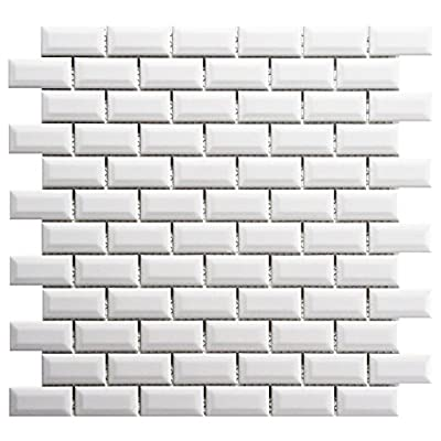 "SomerTile FXLMSBGW Retro Subway Beveled Porcelain Floor and Wall Tile, 12"" x 12"", Glossy White"