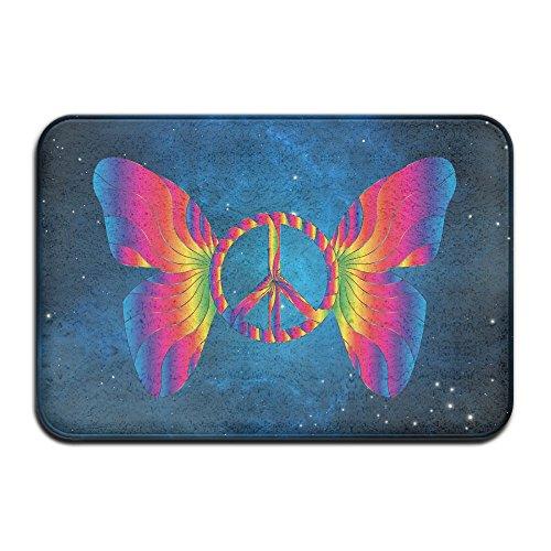 Sign Butterfly Bath Mat Coral Fleece Area Rug Door Mat Entrance Rug Floor Mats (Peace Sign Fleece)