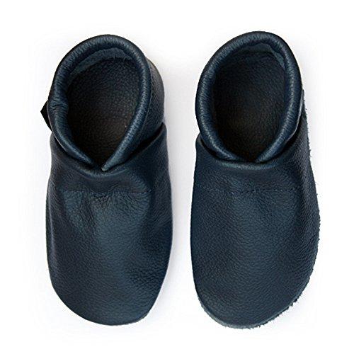 hot sale online 6fd70 715cf Pantau Leder Krabbelschuhe Lederpuschen Babyschuhe Lauflernschuhe, Blau,  100% Leder, 34 EU