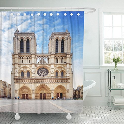 Emvency Shower Curtain Travel Notre Dame Cathedral Paris Ancient Shower Curtain 60 x 72 Inches Shower Curtain with Plastic Hooks