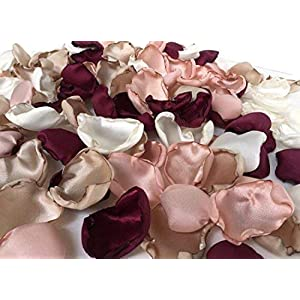 Maroon blush pink ivory and champagne mix of 150 flower petals wedding decor rose petals artificial flower petals 3