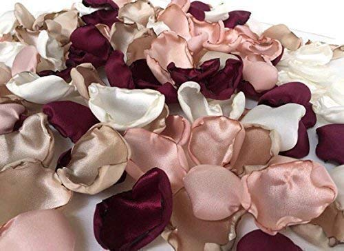 Maroon-blush-pink-ivory-and-champagne-mix-of-150-flower-petals-wedding-decor-rose-petals-artificial-flower-petals