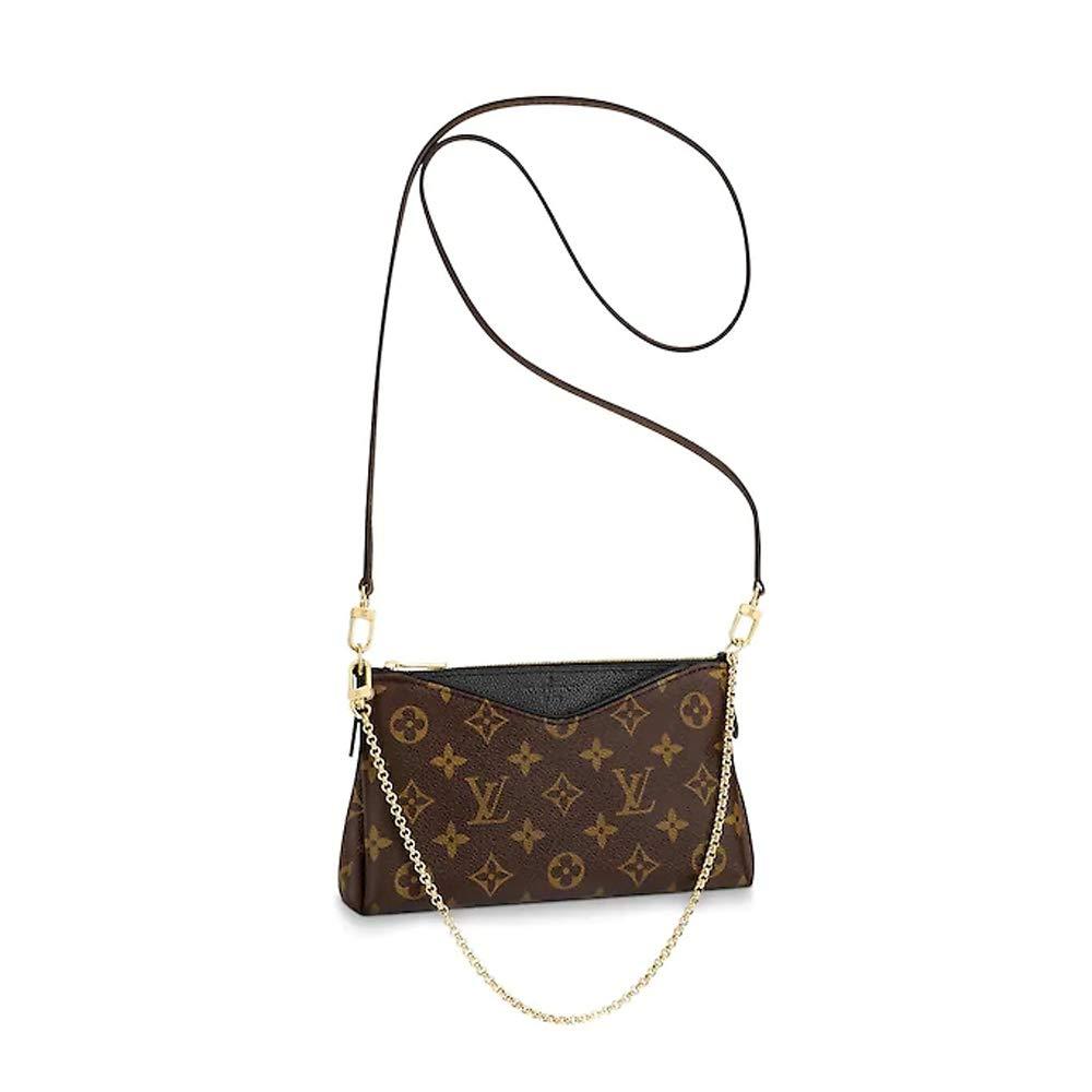 LLVS Women's Monogram Canvas Pallas Clutch Handbag Made in France (black)