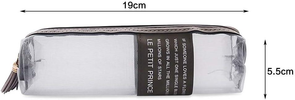 Estuche cuadrado para lápices de gran capacidad para estudiantes, color gris: Amazon.es: Oficina y papelería