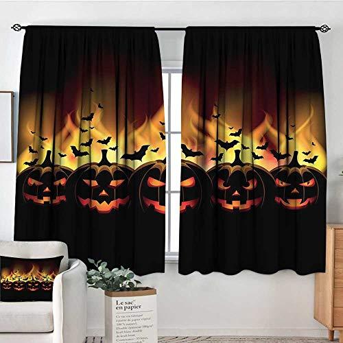 Elliot Dorothy Rod Pocket Curtains Vintage Halloween,Happy Halloween Image with Jack o Lanterns on Fire with Bats Holiday,Black Scarlet,for Room Darkening Panels for Living Room, Bedroom -