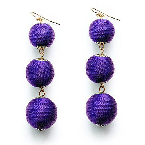 Purple Thread Ball Dangling Earrings Colorful Triple Ball Dangle Earrings Bead Soriee Drop Earrings