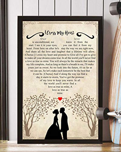 HUAAME 152 I Cross My Heart Song Lyrics Portrait Poster Print Wall Art, Art Prints, Decor 18x14in - Wall Cross Heart