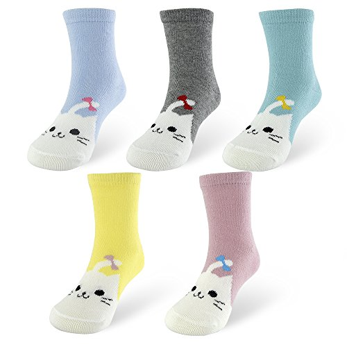 slaixiu 5-Pack Cotton Cute Cat Kids Socks 1-10 Year Olds(823Size S)