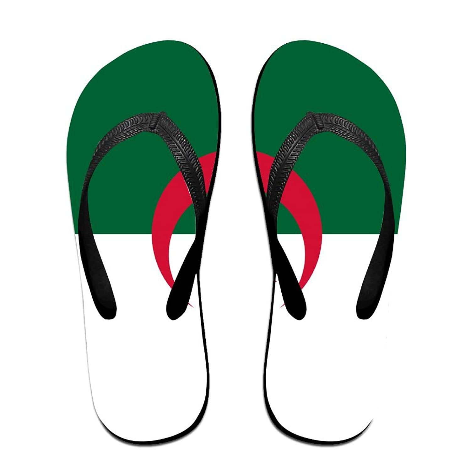 Flag Of Algeria Funny Flip Flops For Children Adults Men And Women Beach Sandals Pool Party Slippers