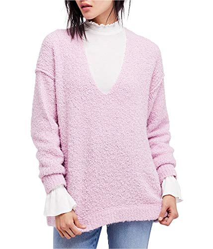 (Free People Womens Boucle Knit Pullover V-Neck Sweater Purple S)
