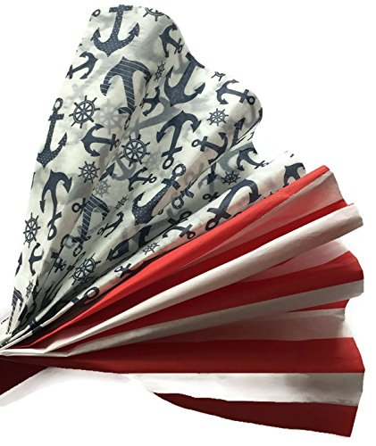Red Stripe/Blue Anchors Nautical Tissue Paper Bundle for Gift Wrapping, 24 Large Sheets of Decorative Tissue Paper