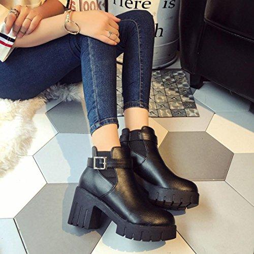 tacones Hebilla Martín cuadrado Casual altos mujer de Zapatos Zapatos Plataforma LMMVP Zapatos Negro Botines Talón cinturón Mujer Zapatos Negro para mujer mujer Botas de del falsas pYfwzZwq
