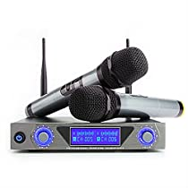 ARCHEER UHF Wireless Microphone System with LCD Display, Dual Channel Handheld Dynamic Microphones Karaoke Mixer for outdoor wedding, Conference, Karaoke, Evening Party