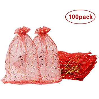 100 Pack 8x12 Inches Organza Gift Bags Wine Red Star Style for Toys Candy Chocolate Party Christmas Wedding Favor Gift