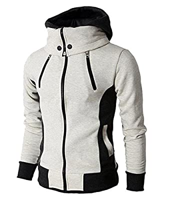 SYTX Mens Winter Color Block Zip Up Long Sleeve Hooded Thicken Jacket Coat Outerwear