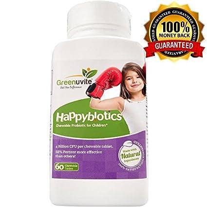 Probióticos HappyBiotics para niños - 60 comprimidos pequeños de toma diaria, con azúcar natural,