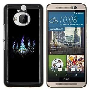 Qstar Arte & diseño plástico duro Fundas Cover Cubre Hard Case Cover para HTC One M9Plus M9+ M9 Plus (Púrpura bola de fuego)