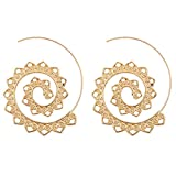 Sundear Vintage Bohemian Spiral Earring Circles Round Tribal Hoop Earrings