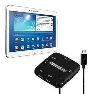 kwmobile Adaptador OTG Micro USB Multilector de tarjetas 7en1 para Samsung Galaxy Tab 3 10.1 Adaptador USB 2.0 / Tarjeta SD / Micro tarjeta SD y muchas más en negro