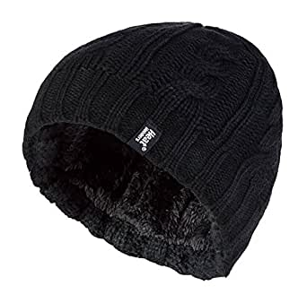 Heat Holders - Womens Thick Fleece Lined Cable Knit Thermal Winter Beanie Hat (One Size, Black)