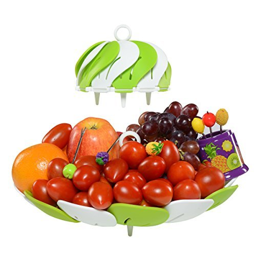 Premium Designer Fruit Bowl & Candy Dish is the Ultimate Tray/Platter & Plate, FREE 6 Stainless Steel Forks Included, Awesome Fruit Basket for Parties, Weddings, Baby Showers, Office, Shatter - Stone Bowl Lotus