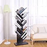 SUPERJARE 9-Shelf Tree Bookshelf | Thickened Compact Book Rack Bookcase | Display Storage Furniture for CDs, Movies & Books | Holds Up To 10 Books Per Shelf | Gray