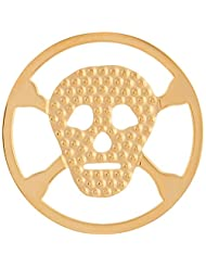 MS Koins Stainless Steel Coin Skull and Crossbones Yellow Gold Plated Fits Our Coin Locket System, 30mm Diameter