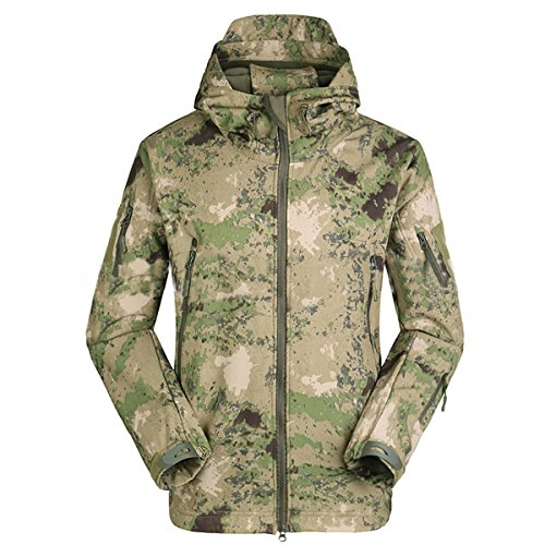 Eglemall Men's Outdoor Hunting Soft Shell Waterproof Tactical Fleece Jackets (X-Large, Ruins green)