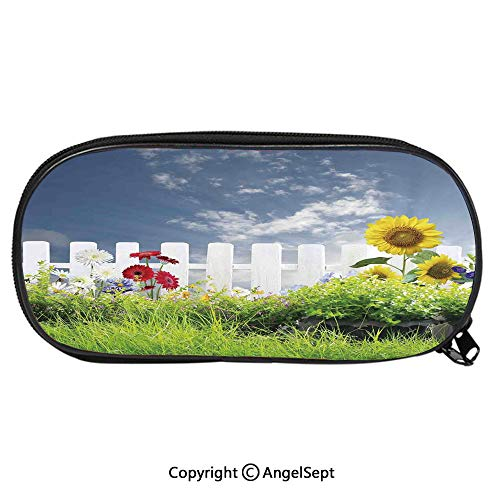 Kid School Pencil BagGrass Foliage Field with Sunflowers Daisy Hedge Fence Yard Jardin Cute Printing Pen Case Adult Office Accessories Pencil HoldersWhite Green Blue
