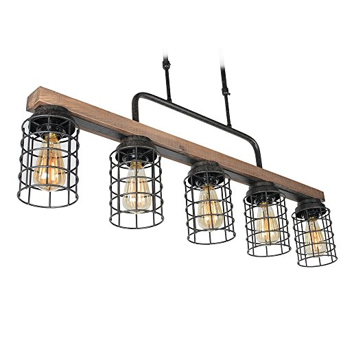Baiwaiz Wood Pool Table Light, Rustic Kitchen Island Lighting Metal Cage Linear Chandelier 5 Light Edison E26 069 by Baiwaiz (Image #4)