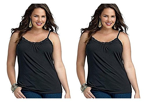 2-Pack Just My Size Plus Size Women's Lace Shirred Front Solid Tank Cami, Ebony, 4X
