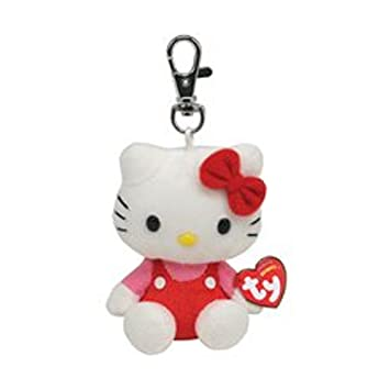 TY Beanie Hello Kitty rojo Mono keyclip llavero: Amazon.es ...