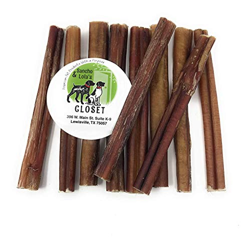 Sancho & Lola's Bully Sticks for Dogs Standard 9.5oz (10-12 Count) Made in USA - No Antibiotics No Growth Hormones, High-Protein Beef Pizzle Dog Chews