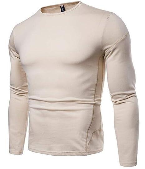 ec5d1048b93 JXG Men Basic Long Sleeve Solid Color 100% Cotton Round Neck Tops T-Shirt