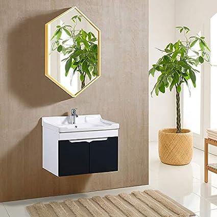 Grande Specchio da Parete Esagonale in Metallo 50x70cm in Oro Nero 3 Misure Colore : Nero, Dimensioni : 40x60cm