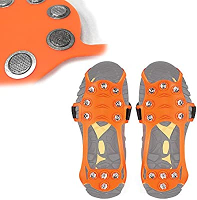 Wirezoll Ice Cleats Mountaineering Ice Snow Grips Black, M Portable Walk Spikes Crampons for Walking Hiking Stainless Steel Traction Cleats Jogging