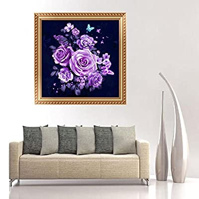 qiguch66 DIY Diamond Painting,DIY 5D Flowers Butterfly Diamond Painting Embroidery Cross Stitch Wall Decor,Arts Craft for Home Wall Decor: Kitchen & Dining