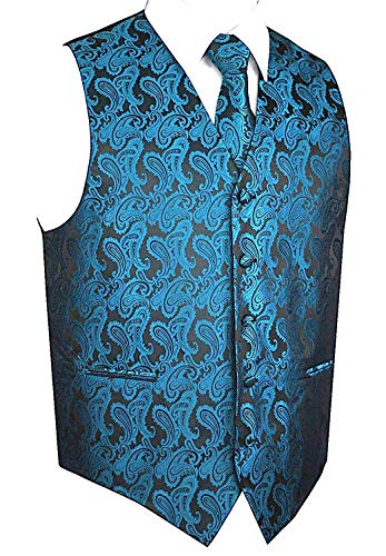 Men's 3pc Paisley Design Dress Vest Tie Handkerchief Set For Suit or Tuxedo (XL (Chest 46), Metallic Blue) (Xl Chest Size)
