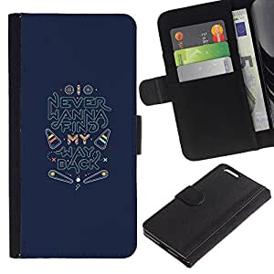 Billetera de Cuero Caso Titular de la tarjeta Carcasa Funda para Apple Iphone 6 PLUS 5.5 / Back Find Quote Inspirational / STRONG