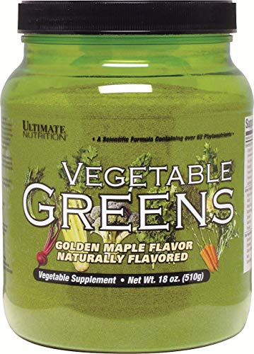 (Ultimate Nutrition Vegetable Greens Superfood Mix – Natural Vegetarian Immune Booster & Energy Supplement - Kale, Spinach Aloe Vera & Non-GMO Lecithin – Golden Maple Syrup Flavor – 510g, 64 Servings)