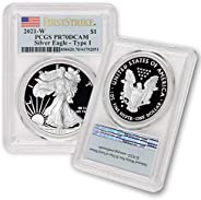 2021 W 1 oz Proof American Silver Eagle PR-70 Deep Cameo (Type 1 - First Strike - Flag Label) by CoinFolio $1