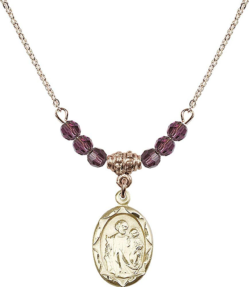 18-Inch Hamilton Gold Plated Necklace with 4mm Amethyst Birthstone Beads and Saint Joseph Charm Purple February Birthstone Patron Saint of Carpenters//Dying//Fathers