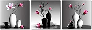 Nachic Wall - Flower Wall Art for Bathroom Elegant Pink Orchid Picture Canvas Painting Prints Modern Home Decor Zen Stones Magnolia Floral Artwork Framed Ready to Hang Set of 3