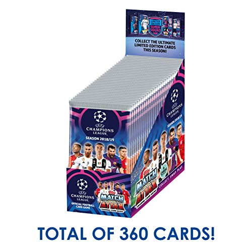 Topps 2018-19 Match Attax Champions League Cards - 24-Pack Box (15 Cards per Pack) (Total of 360 Cards) Look for Superstars Messi, Ronaldo, Mbappe, Neymar, Pogba, Salah, Pulisic & More!