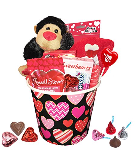 Valentine Day Gift For Her & Him - Valentines Gifts Set For Kids - All Premium Brand Name Chocolate & Sweets Gift Baskets