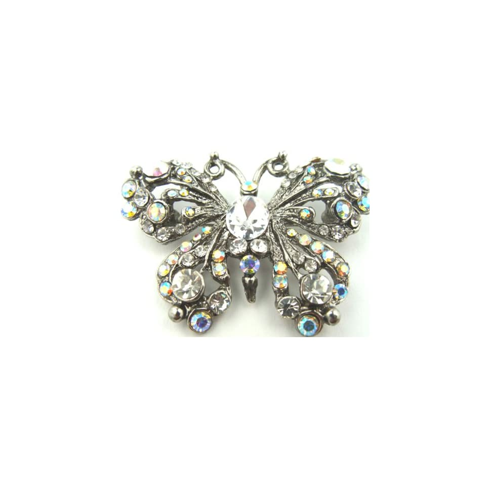 Sparkling AB Crystals Set in Antiqued Silver Finish Butterfly Brooch Pin Gift Boxed