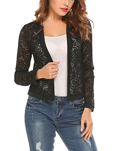Mofavor Women's Spring Fashion Long Sleeve See Through Loose Fit Lace Open Front Cardigan Black M
